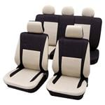 Seat Covers, Black & Beige Elegant Car Seat Cover set - For Peugeot 205, Petex