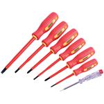 VDE Screwdrivers, Draper 46540 Fully Insulated Screwdriver Set with Mains Tester (7 Piece), Draper