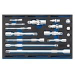 1/4 Drawer EVA Insert, Draper 63530 Extension Bar, universal Joints and Socket Convertor Set 1-4 Drawer EVA Insert Tray (16 Piece), Draper