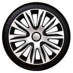 Hub Caps, Nardo Silver-Black Premium 16 Inch Wheel Trim Set of 4 , Petex