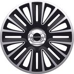 Hub Caps, Quadro Black-Silver Premium 15 Inch Wheel Trim Set of 4 , Petex