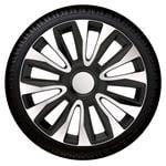 Hub Caps, Avalon Black-Silver Premium 14 Inch Wheel Trim Set of 4 , Petex