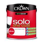 Crown Paint, Crown Solo One Coat Satin Wood and Metal Paint BRILLIANT WHITE - 2.5L, Crown Paints
