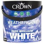 Crown Paint, Crown Weathercoat Smooth Masonry Paint BRILLIANT WHITE - 2.5L, Crown Paints