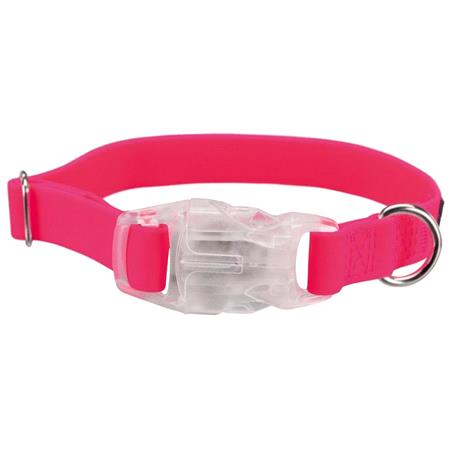 Fully Adjustable USB Dog Flash Collar, Neon Pink  Small Dogs (30 60cm)