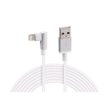 Apple Lightning 90° Angle Charging Cable   200 cm   White