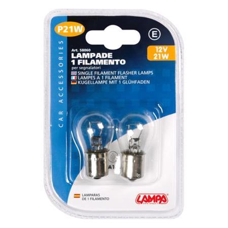 12V Single filament lamp   P21W   21W   BA15s   2 pcs    D Blister