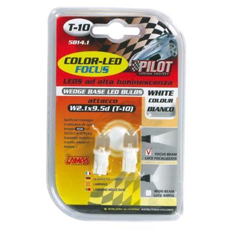 12V Colour Led, lamp 1 Led   (T10)   W2,1x9,5d   2 pcs    D Blister   White