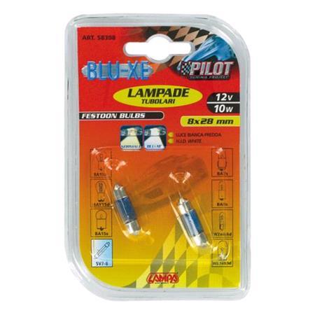 12V Blu Xe festoon lamp   8x28 mm   10W   SV7 8   2 pcs    D Blister