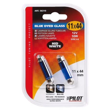 12V Blue Dyed Glass, festoon lamp   11x44 mm   10W   SV8,5 8   2 pcs    D Blister