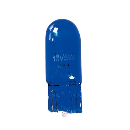 12V Blue Dyed Glass, wedge base lamp   W5W   5W   W2,1x9,5d   2 pcs    D Blister