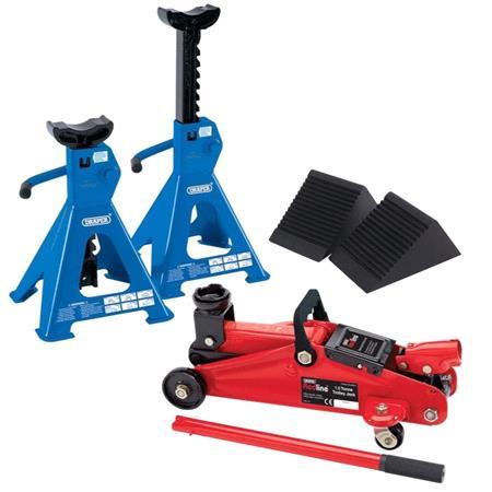DIY Mechanic Car Lift Kit, Inc Jack, Axle Stands & Wheel Chocks