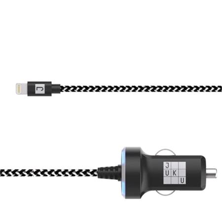 Juku Car Charger 1.2M Lightning Cable 12W (2.4A)   Power LED, Black & White Braided