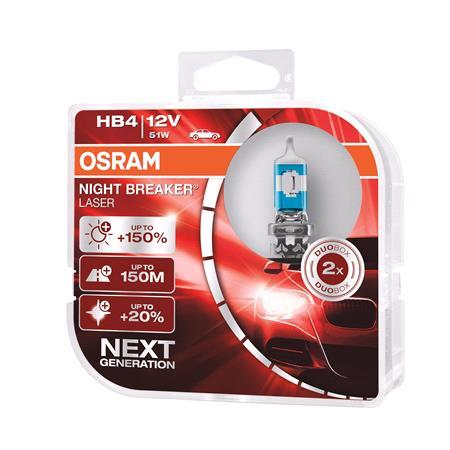 Osram Night Breaker Laser HB4 12V Bulb   Twin Pack