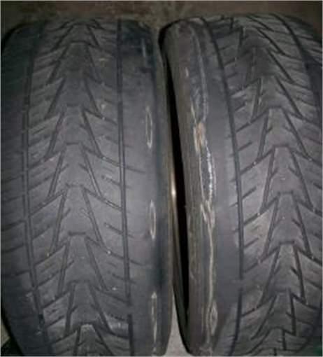 worn tyres due to worn wishbone bushes