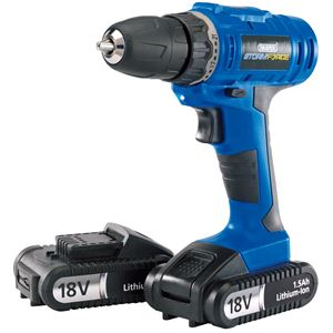 Drills and Cordless Drivers, Draper 14600 Storm Force Cordless Drill with Two Li-ion Batteries (18V), Draper
