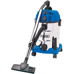 Vacuum Cleaners, Draper 20529 30L Wet and Dry Vacuum Cleaner with Stainless Steel Tank and Integrated 230V Power Socket (1600W), Draper