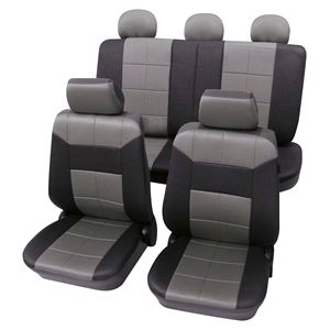 Grey Black Leather Look Seat Cover Set For Fiat 500 2007 Onwards