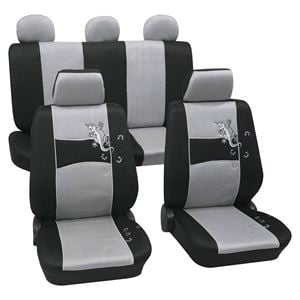 Silver Black Stylish Car Seat Cover Set For Nissan Micra 2003 2010