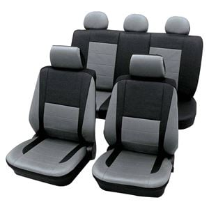 Leather Look Grey Black Car Seat Covers