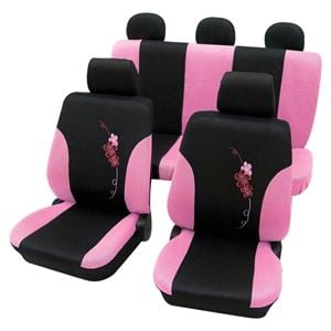 Girly Car Seat Covers Lady Pink Black Flower Pattern Seat Ibiza