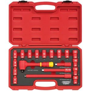 Socket Set, Draper Expert 31057 3/8 inch Square. Drive. VDE Socket Set (19 Piece), Draper