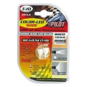 Bulbs - by Bulb Type, 12V Colour-Led Wide, lamp 1 Led - (T10) - W2,1x9,5d - 2 pcs  - D/Blister - White, Pilot