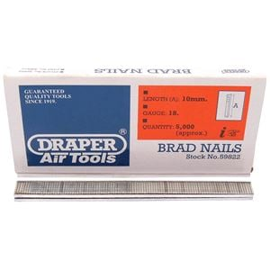 Staplers, Draper 59822 10mm Brad Nails (5000), Draper