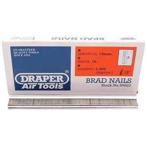 Staplers, Draper 59822 10mm Brad Nails (5000), Draper