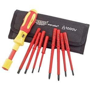VDE Screwdrivers, Draper Expert 65372 Ergo Plus Interchangeable VDE Torque Screwdriver Set (9 Piece), Draper