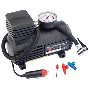 Tyre Inflators, Draper Redline 81023 12V Mini Analogue Air Compressor (250Psi Max.), Draper