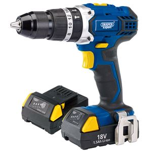 Drills and Cordless Drivers, Draper Expert 83685 18V Cordless Combi Hammer Drill with Two Li-Ion Batteries, Draper