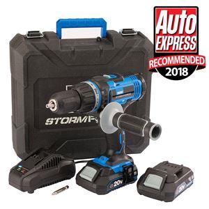 20V Power Interchange Range, Draper 89523 Tools Stormforce 20V Combi Drill With 2 X 2.0Ah Batteries + Charger , Draper