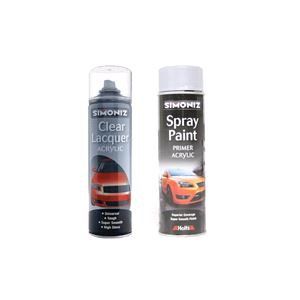 Basic Car Paints, Simoniz Grey Primer and Clear Lacquer Kit, Simoniz