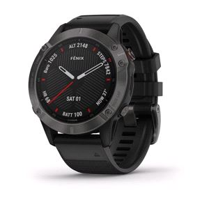 Smart Watch, Garmin Fenix 6 Sapphire Carbon Gray with Black Band, Garmin