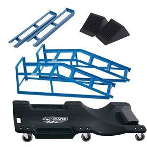 Car Jack Kits, DIY Mechanic Car Ramp Kit, Inc 2 Tonne Ramps, Extenders, Wheel Chocks & Creeper, Draper