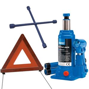 Car Jack Kits, *Discontinued* Roadside Car Lift Kit Inc 2 Tonne Hydraulic Bottle Jack, 4 Way Wheel Brace, Warning Triangle , Draper