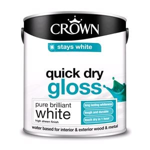 Crown Paint, Crown Quick Dry Gloss Wood and Metal Paint BRILLIANT WHITE - 2.5L, Crown Paints