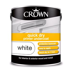 Crown Paint, Crown Quick Dry undercoat Primer Paint WHITE - 2.5L, Crown Paints