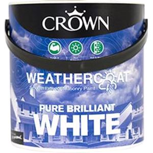 Crown Paint, Crown Weathercoat Smooth Masonry Paint BRILLIANT WHITE - 2.5L, Crown Paints