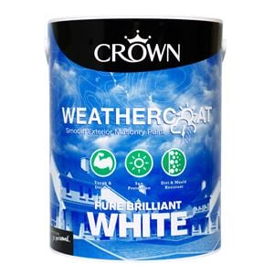 Crown Paint, Crown Weathercoat Smooth Masonry Paint BRILLIANT WHITE - 5L, Crown Paints