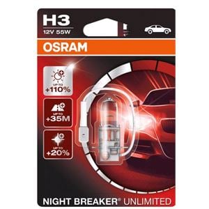Bulbs - by Vehicle Model, Osram Night Breaker Unlimited H3 Bulb  - Single for Ssangyong MUSSO, 1995-2004, Osram