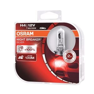 Bulbs - by Vehicle Model, Osram Night Breaker Silver H4 12V Bulb - Twin Pack for Ssangyong MUSSO, 1995-2004, Osram