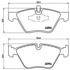 Brake Pads, Brembo Front Brake Pads (Full set for Front Axle), Brembo