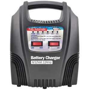 Battery Charger, 12 Amp LED Automatic Plastic Cased Battery Charger, Streetwize