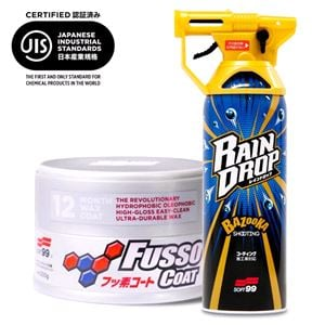 Paint Polish and Wax, Soft99 Set - Fusso 12 Month Coat Light and Rain Drop Gloss Booster, Soft99