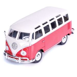 Diecast Model Cars, Volkswagen Samba Camper Van Model 1:24 Red, Maisto