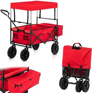 Gardening and Landscaping Equipment, UNIPRODO Folding Garden Cart with Bag and Roof - Red, UNIPRODO