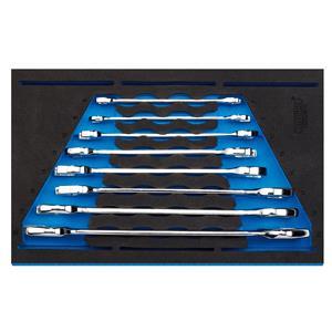 1/4 Drawer EVA Insert, Draper Expert 63524 Open Ended Spanner Set in 1-4 Drawer EVA Insert Tray (8 Piece), Draper
