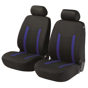 Seat Covers, Walser Basic Zipp-It Hastings Front Car Seat Covers - Black & Blue For Mercedes GL-CLASS 2012 Onwards, Walser